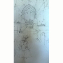 Church and bird girl preliminary sketch for painting